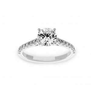 Ritani Round Pave Diamond Solitaire Engagement Ring
