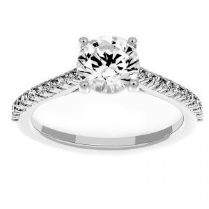 Ritani Round Micro-Pave Solitaire Diamond Engagement Ring