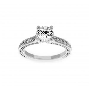 Ritani Round Solitaire Micro-Pave Braided Diamond Engagement Ring