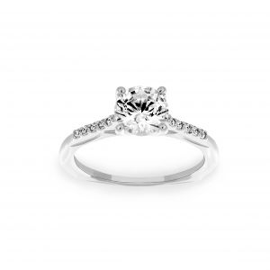Ritani Round Solitaire Micro-Pave Diamond Engagement Ring