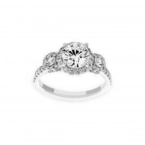 Ritani Three Stone Round Diamond Engagement Ring