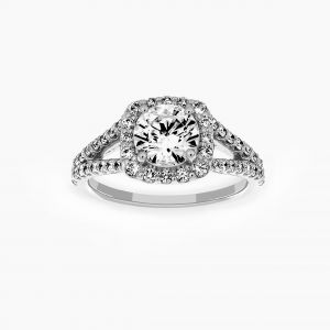 Ritani Cushion Halo Split Shank Engagement Ring