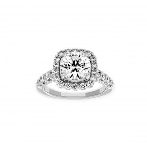 Ritani Cushion Halo Round Diamond Engagement Ring
