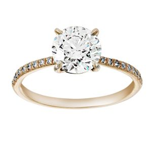 TWO by London Thin Pave Diamond Solitaire Engagement Ring