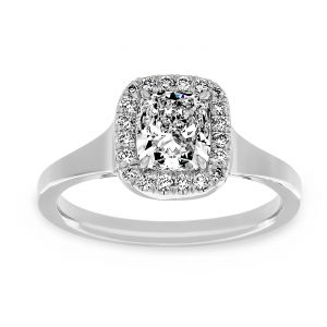 TWO by London Rectangular Cushion Diamond Halo Solitaire Engagement Ring