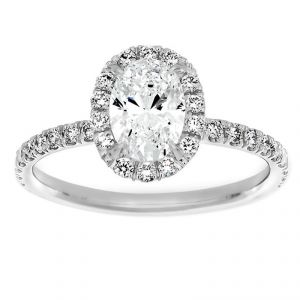 TWO by London Oval Diamond Halo One Carat Engagement Ring