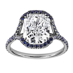 TWO by London Cushion Diamond Pave Blue Sapphire Halo Split Shank Engagement Ring