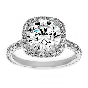 TWO by London Round Diamond Cushion Halo Engagement Ring