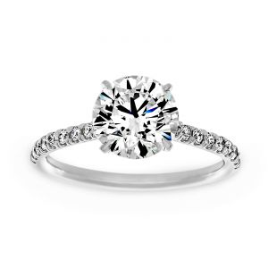 Forevermark Thin Pave Round Diamond Solitaire Engagement Ring