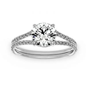 Forevermark Round Diamond Split Shank Pave Engagement Ring