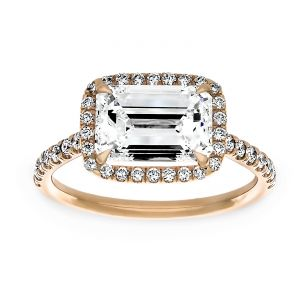 TWO by London East-West Emerald Cut Diamond Halo Engagement Ring