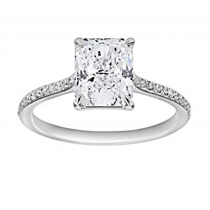 TWO by London Radiant Diamond Thin Pave Engagement Ring