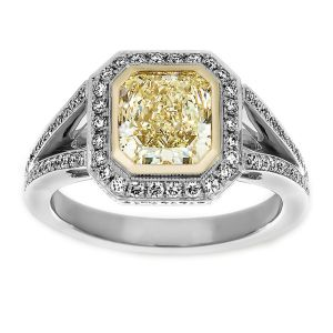 TWO by London Yellow Radiant Diamond Split Shank Pave Engagement Ring