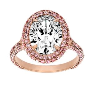 TWO by London Oval Cut Pink Diamond Halo Engagement Ring