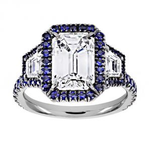 TWO by London Three Stone Emerald Diamond Blue Sapphire Halo Engagement Ring