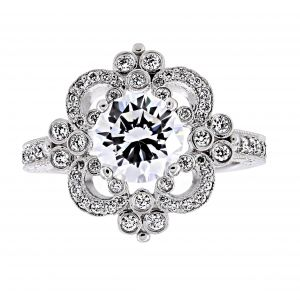 Penny Preville Natasha Round Diamond Scroll Engagement Ring