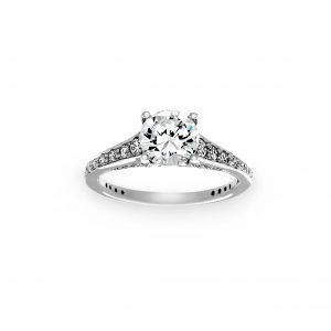Ritani Tapered Pave Diamond Band Engagement Ring