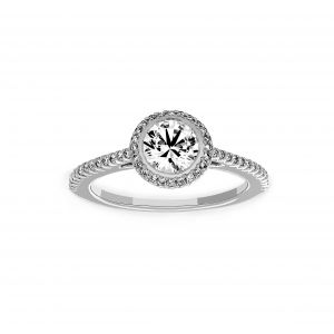 Ritani Round Diamond Halo Micro-Pave Engagement Ring