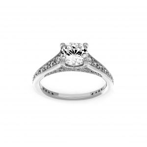 Ritani Round Diamond Micro-Pave Channel Set Engagement Ring