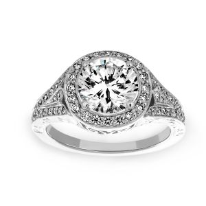 Penny Preville Grace Round Diamond Halo Engagement Ring