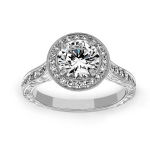 Penny Preville Penelope Round Diamond Halo Engagement Ring
