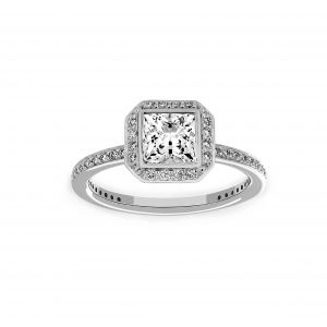 Ritani Square Radiant Halo Channel Set Engagement Ring