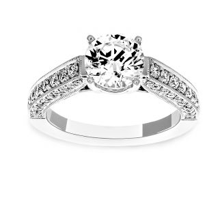 Martin Flyer Three Sided Diamond Shank Engagement Ring