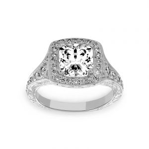 Penny Preville Josephine Cushion Diamond Halo Engagement Ring