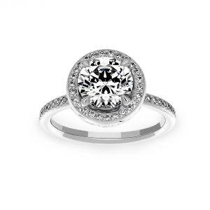 Michael B. Petite Quintessa Round Micro-Pave Diamond Halo Engagement Ring