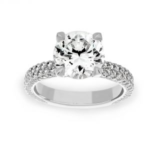 Michael B. Two Row Flatband Pave Diamond Solitaire Engagement Ring