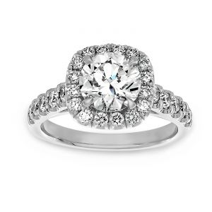 TWO by London Rounded Square Halo Round Diamond Engagement Ring