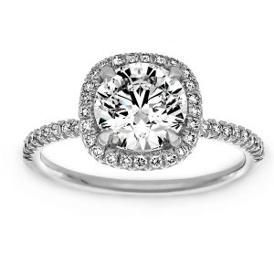 TWO by London Square Halo Round Diamond Basket Engagement Ring