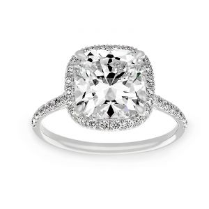 TWO by London Rounded Cushion Pave Diamond Halo Engagement Ring