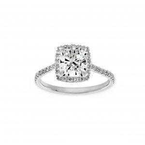 Norman Silverman Square Cushion Pave Diamond Halo Engagement Ring