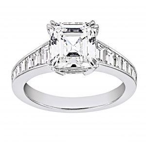 TWO by London Asscher Diamond Baguette Engagement Ring