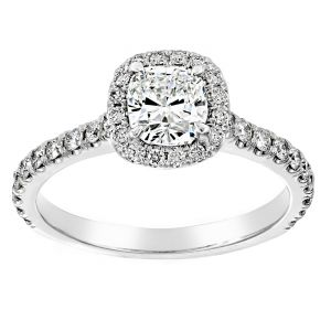 TWO by London Pave Diamond Cushion Halo Engagement Ring