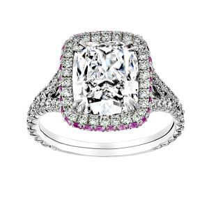 TWO by London Cushion Diamond Pink Sapphire Halo Engagement Ring