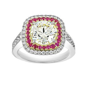 TWO by London Round Diamond Cushion Pave Ruby And Diamond Halo Engagement Ring