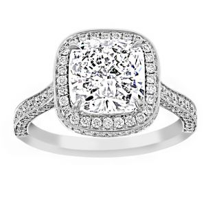 TWO by London Three Sided Cushion Diamond Halo Engagement Ring