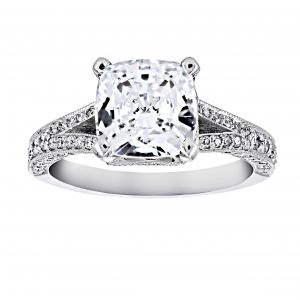 Penny Preville Lauren Cushion Cut Diamond Split Shank Engagement Ring