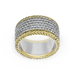 Michael B. Seven Row White And Yellow Diamond Eternity Band