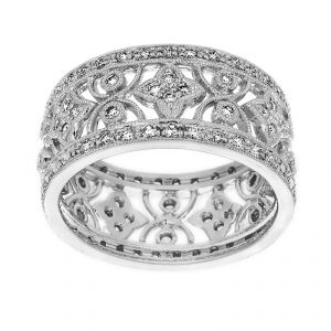 TWO by London Floral Pave Diamond Wide Eternity Band