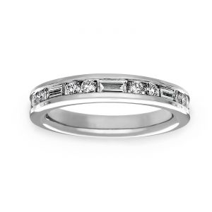 Martin Flyer Baguette And Round Diamond Wedding Band