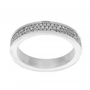Henri Daussi Pave Three Row Eternity Band