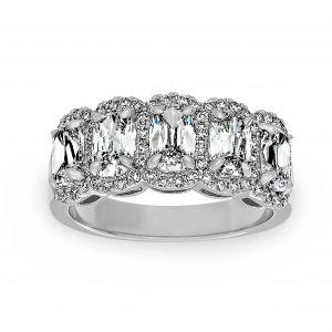 Henri Daussi Five Stone Elongated Cushion Diamond Halo Wedding Band