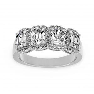 Henri Daussi Four Stone Cushion Diamond Halo Wedding Band
