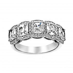 Henri Daussi Five Cushion Diamond Halo Wedding Band