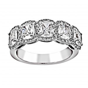 Henri Daussi Five Cushion Diamond Pave Halo Wedding Band