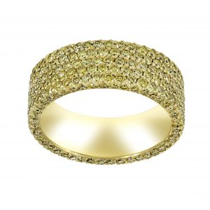 Michael B. Five Row Flatband Micro-Pave Yellow Diamond Eternity Band
