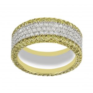 Michael B. Five Row White And Yellow Diamond Eternity Band